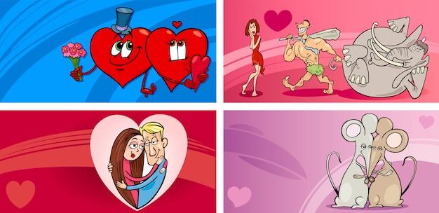Ensemble de cartes de voeux dessin animé saint-valentin