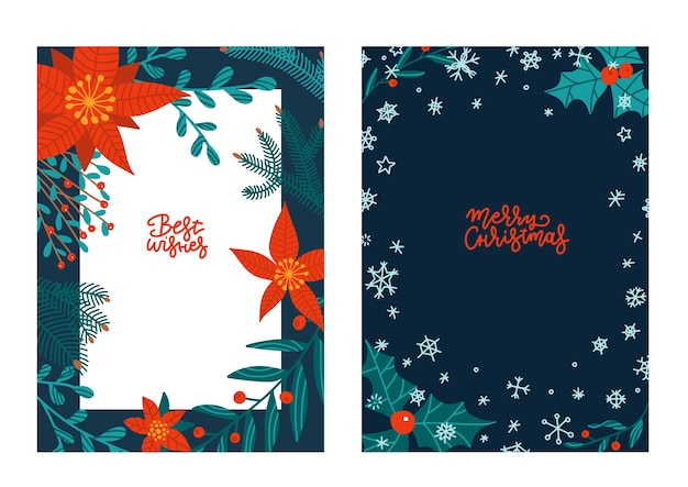 Ensemble de cartes de voeux dessinés à la main dans des couleurs traditionnelles, bannières de taille a4 verticales, invitations. joyeux noël, les meilleures cartes de citations de lettrage souhaitées avec des objets d'hiver de fleurs de noël.