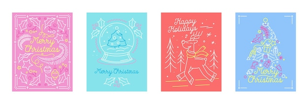 Ensemble de cartes de voeux de joyeuses fêtes de noël dans un style linéaire avec des symboles festifs sapin, renne et globe de cristal. saison des vacances d'hiver, conception de félicitations de carte postale. illustration vectorielle