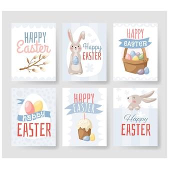 Ensemble de cartes de voeux joyeuses pâques