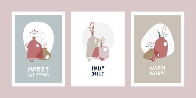 Ensemble de cartes de voeux de noël abstraites.