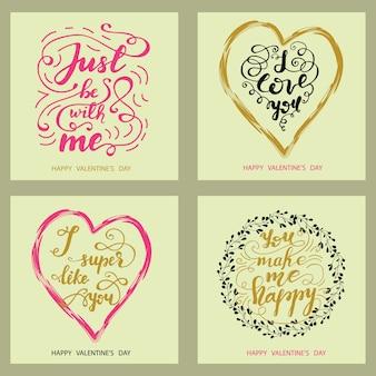 Ensemble de cartes de voeux pour la saint-valentin avec lettrage. illustration vectorielle