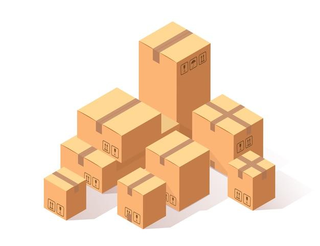 Ensemble de carton isométrique, boîte en carton sur fond blanc. paquet de transport en magasin, concept de distribution.