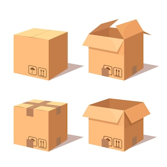 Ensemble de carton isométrique, boîte en carton. paquet de transport en magasin, distribution