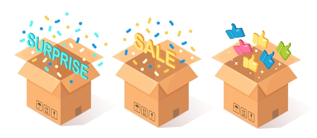 Ensemble de carton ouvert, boîte en carton avec les pouces vers le haut sur fond bleu. paquet isométrique, cadeau, surprise avec des confettis. témoignages, commentaires, avis clients, concept de vente.