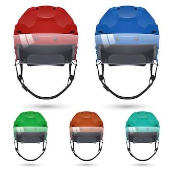 Ensemble de casques de hockey sur glace avec visière, isolé sur fond blanc.