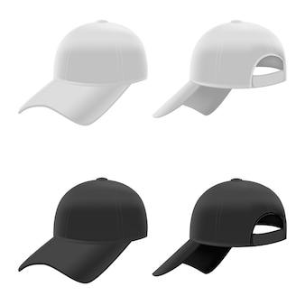 Ensemble de casquettes de baseball noir et blanc réaliste