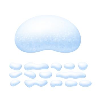 Ensemble de casquettes de neige isolé sur fond blanc