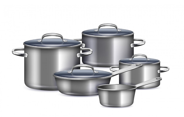 Ensemble de casseroles pour cuisiner le petit déjeuner, le déjeuner et le dîner réalistes
