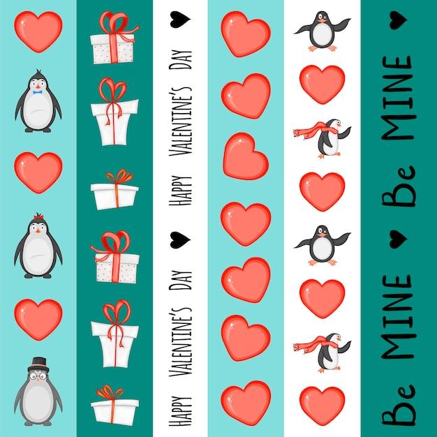 Ensemble de cassettes pour la saint-valentin. style de bande dessinée. illustration vectorielle.