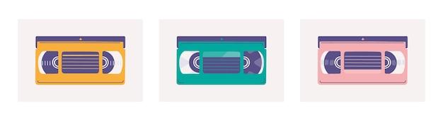 Ensemble de cassettes vidéo vhs éléments à la mode plats pour un design rétro