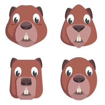 Ensemble de castors de dessin animé. différentes formes de visages d'animaux.
