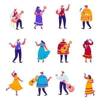 Ensemble de célébration à plat d'une fête mexicaine traditionnelle en caractères colorés de vêtements traditionnels