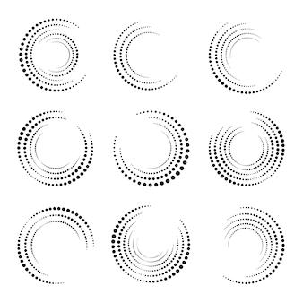 Ensemble de cercle de demi-teintes. collection de formes circulaires en pointillé