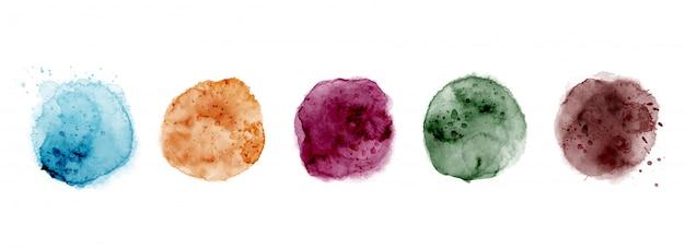 Ensemble de cercles aquarelle peints à la main de différentes formes colorées, tache de splash aquarelle