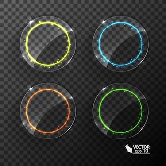 Ensemble de cercles au néon effet de lumière de différentes couleurs