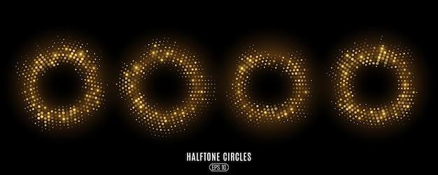 Ensemble de cercles de demi-teintes scintillantes dorées abstraites. cercles de points lumineux luxueux.