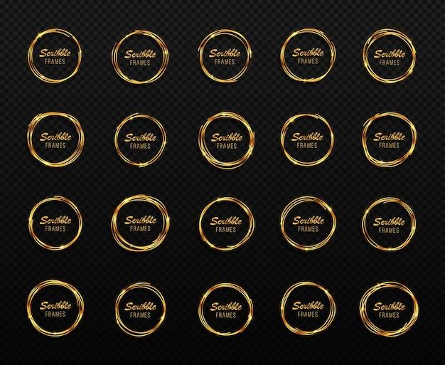 Ensemble de cercles dorés dessinés à la main cadres de cercles de gribouillis