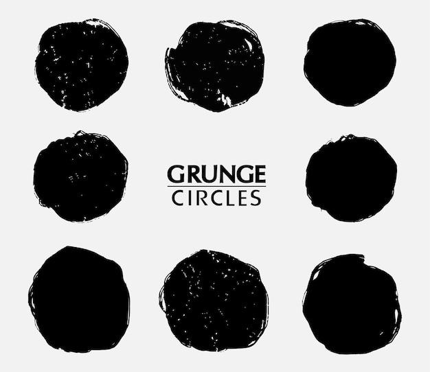 Ensemble de cercles d'encre de peinture grunge