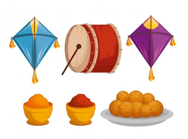 Ensemble de cerfs-volants avec des tambours et de la nourriture pour makar sankranti
