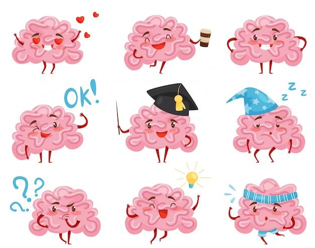 Ensemble de cerveaux humanisés roses dans différentes situations. personnages de dessins animés drôles. organe humain