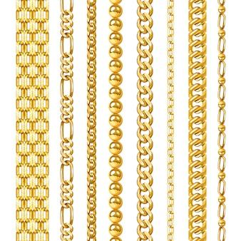 Ensemble de chaînes dorées