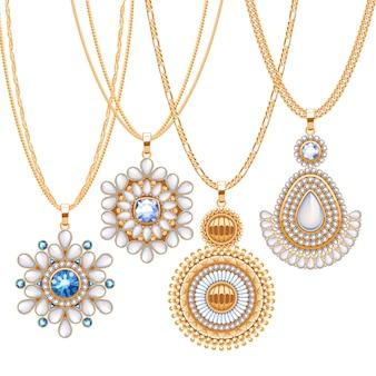 Ensemble de chaînes en or avec différents pendentifs. colliers précieux. pendentifs de broches de style indien ethnique avec des perles de pierres précieuses. inclure les pinceaux de chaînes.