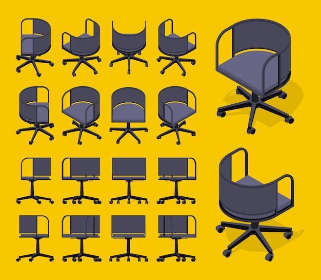 Ensemble des chaises de bureau noir isométrique