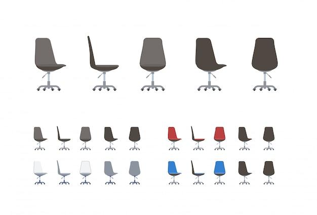 Ensemble de chaises de bureau en style cartoon plat.