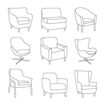 Ensemble de chaises dessinées à la main - différents types de chaises sur blanc. icônes en style cartoon