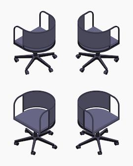 Ensemble des chaises noires de bureau isométrique