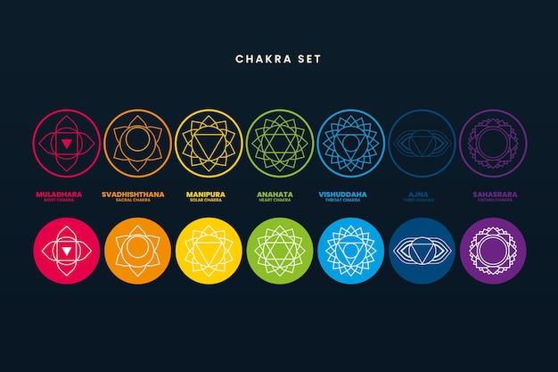 Ensemble de chakras colorés
