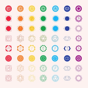 Ensemble de chakras multicolores