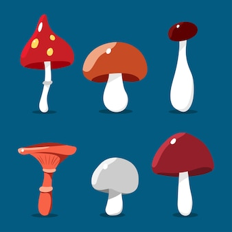 Ensemble de champignons de dessin animé isolé sur fond.