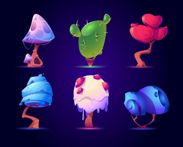 Ensemble de champignons fantastiques ou d'arbres exotiques. nature magique