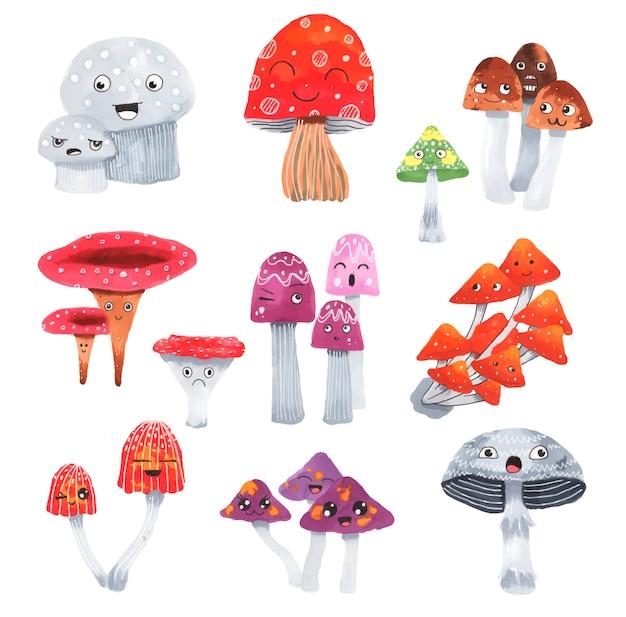 Ensemble de champignons mignons