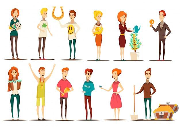 Ensemble chanceux de situations plates images style doodle de personnages humains isolés avec divers éléments vector illustration