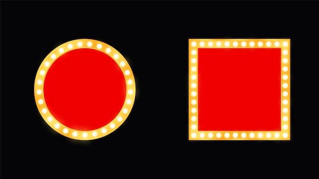 Ensemble de chants rétro brillants. bannière vintage avec ampoules. illustration vectorielle eps10