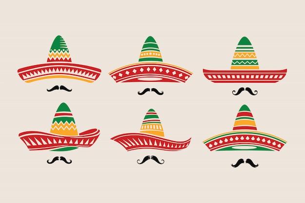 Ensemble de chapeau cinco de mayo avec moustache