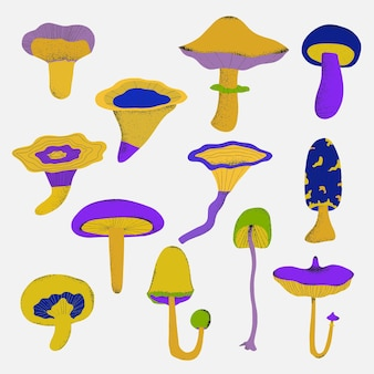 Ensemble de chapeaux de champignons psychédéliques