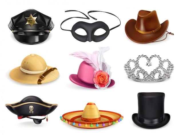 Ensemble de chapeaux, collection de coiffures, icônes