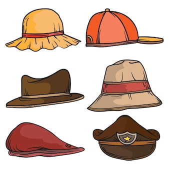 Ensemble de chapeaux homme et femme illustration élégante de chapeaux masculins et féminins