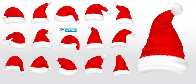 Ensemble de chapeaux de père noël réalistes isolés ou vêtements de chapeau de noël noël ou chapeau de père noël rouge hiver