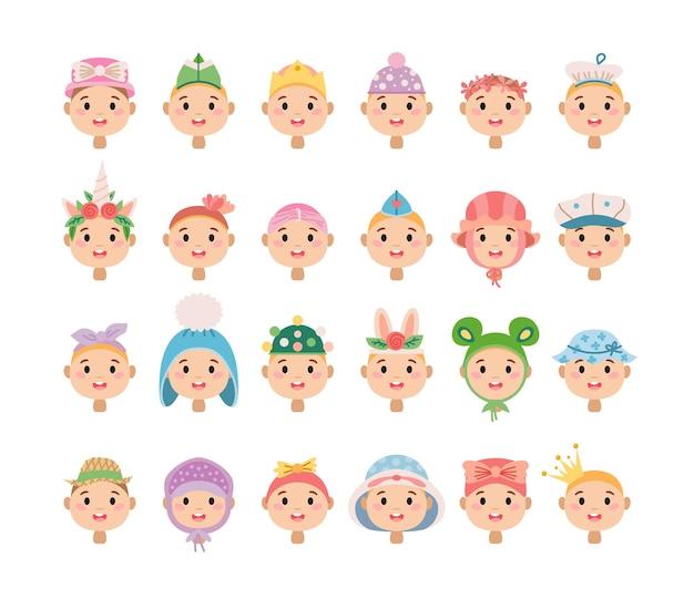 Ensemble de chapeaux pour enfants de dessin animé