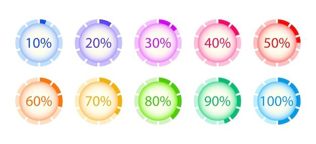 Ensemble de chargement de cercle. progression des téléchargements en pourcentage. éléments