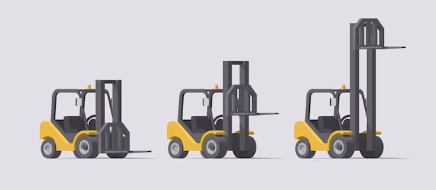 Ensemble de chariot élévateur. chariots élévateurs avec différentes positions de fourche sur fond clair. collection