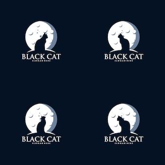 Ensemble de chat dans la création de logo de lune