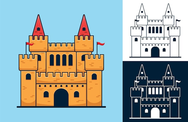Ensemble de château. illustration de dessin animé de vecteur dans le style d'icône plate
