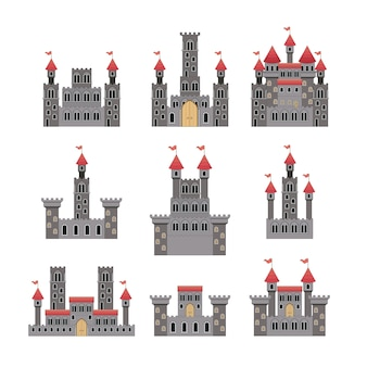 Ensemble de châteaux de contes de fées en fond blanc