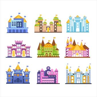 Ensemble de châteaux et manoirs colorés.